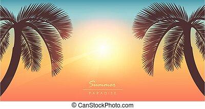 τροπικός , φόντο , βάγιο , ηλιόλουστος , δέντρο , καλοκαίρι , παράδεισος