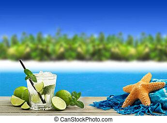 τροπικός , mojito, παραλία , κοκτέηλ