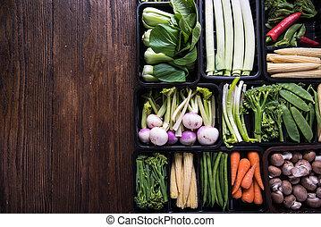 τροφή , γεωργόs , άβγαλτος από λαχανικά , φόντο , αγορά