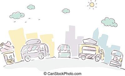 τροφή , γράφω άσκοπα , δρόμοs , φορτηγό , κάρο