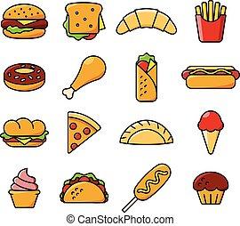 τροφή , δεκαέξι , γρήγορα , απεικόνιση