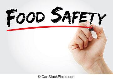τροφή , μαρκαδόρος , χέρι , ασφάλεια , γράψιμο