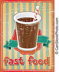 τροφή , πίνω , γρήγορα , retro , φόντο , style.