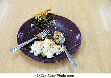 τροφή , πιάτο , σπατάλη , βάζω στο τραπέζι. , ξύλινος