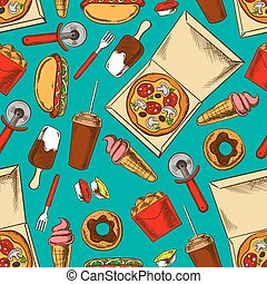 τροφή , πρότυπο , retro , γρήγορα , seamless