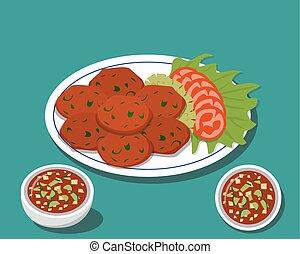 τροφή , fish, παραδοσιακός , κέηκ , thai , τηγανητός , σάλτσα