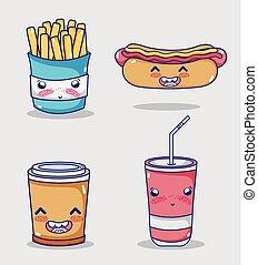 τροφή , kawaii, γρήγορα , συλλογή , γελοιογραφία