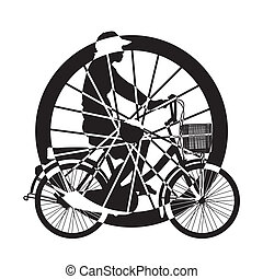 τροχός , από , ιππασία , ποδήλατο , περίγραμμα , v