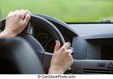 τροχός , γυναίκα , οδήγηση , άμαξα αυτοκίνητο. , ανάμιξη , πηδαλιούχηση