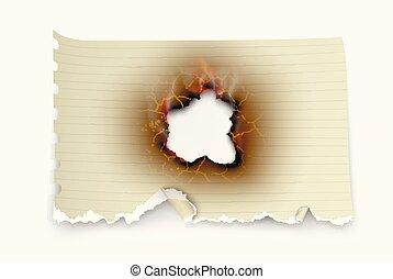 τρύπα , μετοχή του tear , μέσα , ξέσκισα , έκαψα , και , φλόγα , επάνω , διαφανής