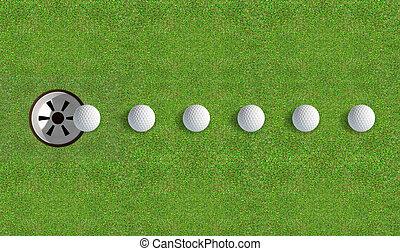 τρύπα , μπάλα , γκολφ , άπτομαι