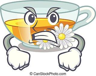 τσάι , θυμωμένος , χαμομήλι , σχήμα , γελοιογραφία