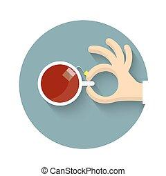 τσάι , ρυθμός , χέρι , γελοιογραφία , κύπελο