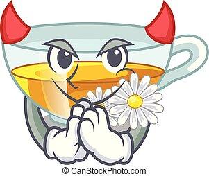 τσάι , σχήμα , διάβολοs , χαμομήλι , γελοιογραφία