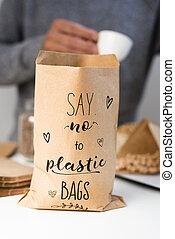 τσάντα , αρπάζω , χαρτί , πλαστικός , λέω , εδάφιο , όχι