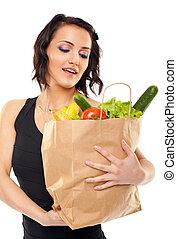 τσάντα , λαχανικά , γυναίκα αμπάρι