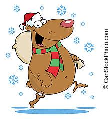 τσάντα , τρέξιμο , χιόνι , αρκούδα
