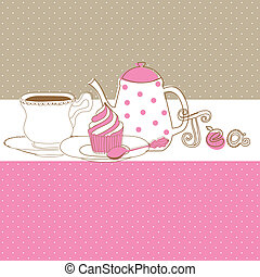 τσαγιέρα , cupcake , σκούφοs , γλυκός , κάρτα