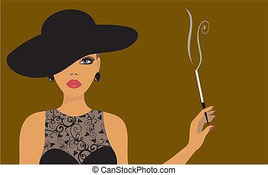 τσιγάρο , κυρία , καπέλο