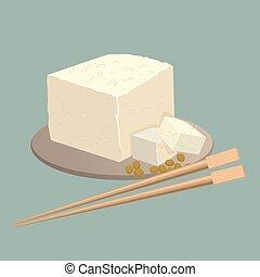 τυρί , κινέζα , πιάτο , isolated., tofu , τροφή , ξυλάκια ,...