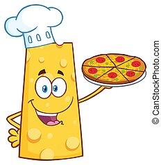τυρί , χαρακτήρας , αρχιμάγειρας , κράτημα , γουρλίτικο ζώο , γελοιογραφία , πίτα με τομάτες και τυρί