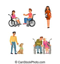 τυφλός , ανάπηρος , θέτω , άνθρωποι , αναπηρική καρέκλα