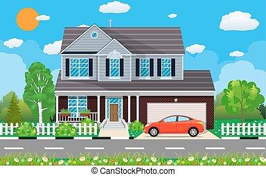 των προαστείων , ιδιωτικός , σπίτι , αυτοκίνητο
