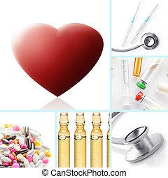 υγεία , ανακατεύω , φάρμακο , θέμα , κολάζ , c