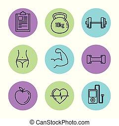 υγιεινός , θέτω , τρόπος ζωής , απεικόνιση
