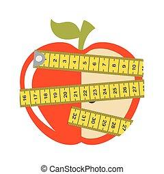 υγιεινός , ταινία , μήλο , μέτρο