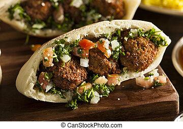 υγιεινός , falafel , χορτοφάγοs , pita