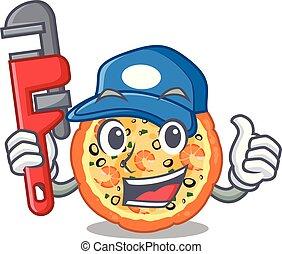 υδραυλικός , θαλασσινά , πίνακας , επάνω , γελοιογραφία , πίτα με τομάτες και τυρί