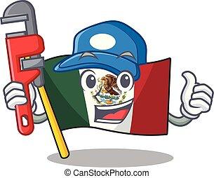 υδραυλικός , μεξικό , πολωνός , σημαία , πτερύγισμα , γελοιογραφία