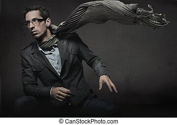 υπέροχος , μόδα , ρυθμός , φωτογραφία , από , ένα , κομψός ,...