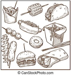 υπέροχος , πιάτα , τροφή , μεγάλος , γρήγορα , συλλογή ,...