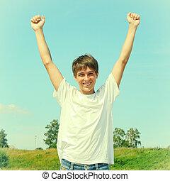 υπαίθριος , έφηβος , ευτυχισμένος