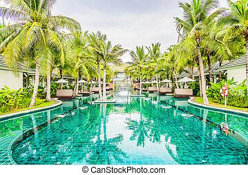 υπαίθριος , πισίνα , μέσα , ξενοδοχείο , θέρετρο , για , ακμή άδεια , φόντο