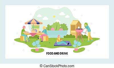 υπαίθριος , picnic., μικροβιοφορέας , ιστός , σαββατοκύριακο , σελίδα , προσγείωση , ξοδεύω , website , άνθρωποι , template., holiday., άλφιτο. , έχει , οικογένεια , θέση , σχεδιάζω , ώρα , καλοκαίρι , σχόλη , πάρκο , illustration.