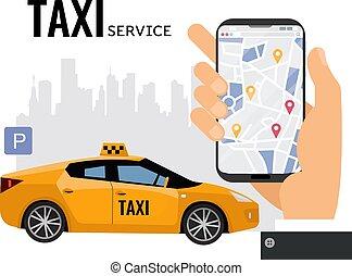 υπηρεσία , χέρι , κινητός , ταξί , επάγγελμα , sign.taxi, εδάφιο , μεγάλος , smartphone, πάρκινγκ , εικόνα , online , πόλη , μεταφορά , μικροβιοφορέας , concept., ανήρ , map.yellow, έμπροσθεν μέρος , αυτοκίνητο , περίγραμμα