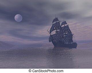 φάντασμα , render, - , νύκτα , βάρκα , 3d