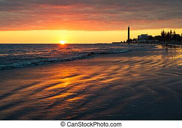 φάρος , island., canaria , παραλία , gran , κατά την διάρκεια , ηλιοβασίλεμα , maspalomas