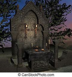 φαντασία , βωμός , sanctum, theme., απόδοση , αρχαϊκός ,...