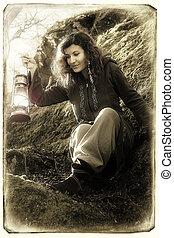 φαντασία , εξαίσιος γυναίκα , με , χρώμα , ελαφρείς , ηλεκτρικός λαμπτήρας , μέσα , ο , βρύο , βράχος
