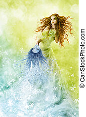 φαντασία , ομορφιά , μόδα , γυναίκα , αλλαγή , εποχές , χειμώναs , μακιγιάζ , μάσκα , να , άνοιξη , hairstyle., δημιουργικός , όμορφος , κορίτσι , γούνα αιχμηρή απόφυση , πράσινο , καλοκαίρι , φόντο.