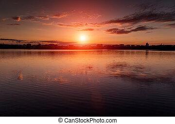 φανταστικός , τοπίο , χρώμα , πάνω , ουρανόs , χρήση , sunrise., lake., φόντο. , multicolor , μεγαλοπρεπής , nature.