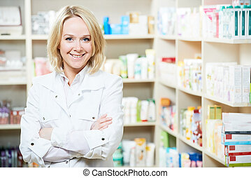 φαρμακευτική , φαρμακοποιός , γυναίκα , μέσα , φαρμακείο