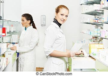 φαρμακευτική , φαρμακοποιός , γυναίκεs , μέσα , φαρμακείο