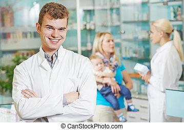 φαρμακευτικός , εργάτης , μέσα , φαρμακείο