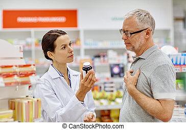 φαρμακοποιός , εκδήλωση , ναρκωτικό , να , ανώτερος ανήρ , σε , φαρμακευτική