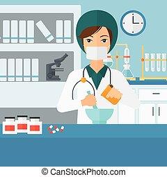 φαρμακοποιός , επεξεργάζομαι , medicine.
